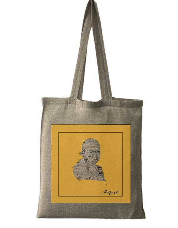 Tote bag en coton bio jaune Mozart